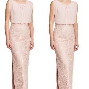 Aidan Mattox Lace Overlay silk chiffon gown